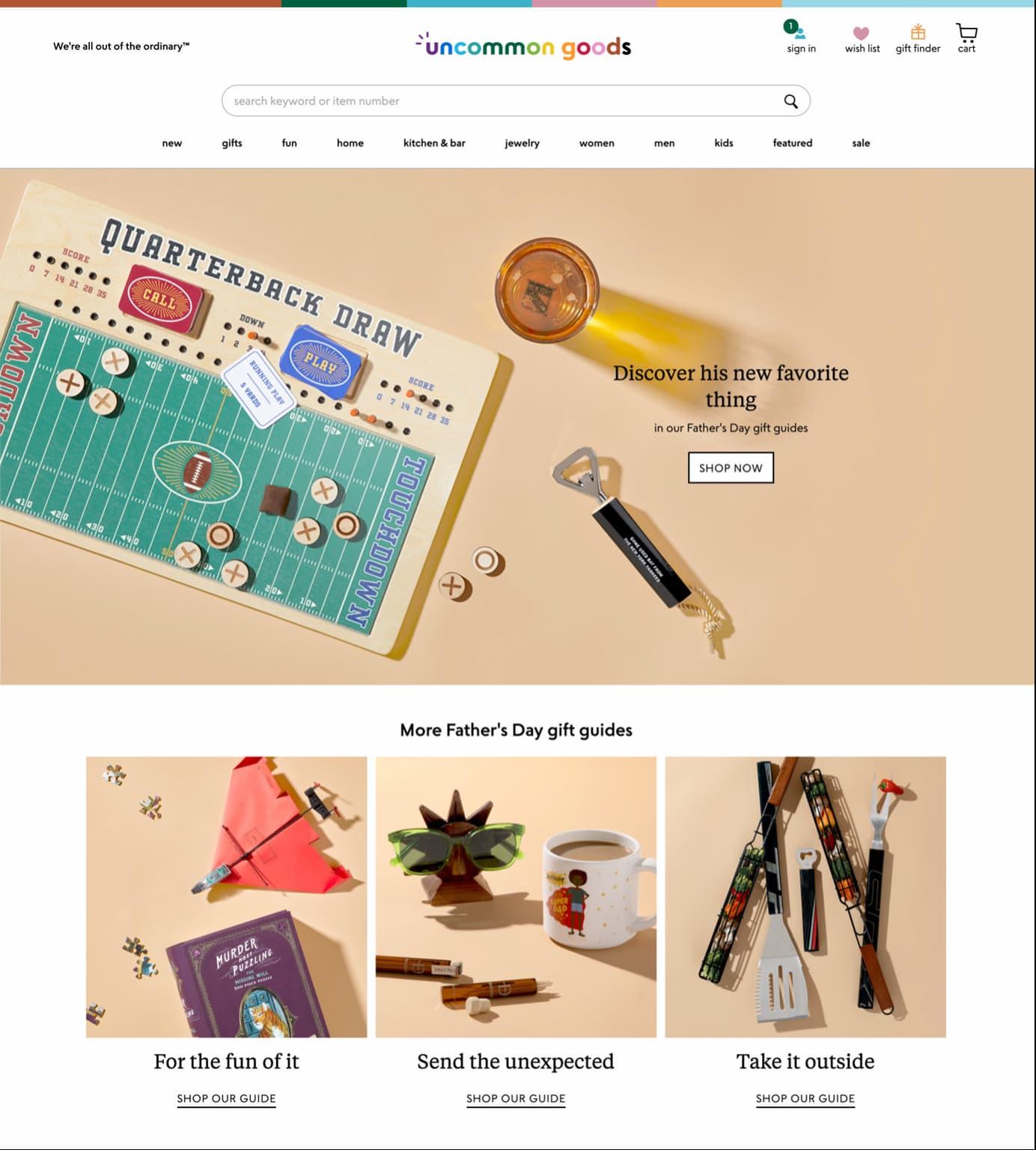 Uncommon Goods website.