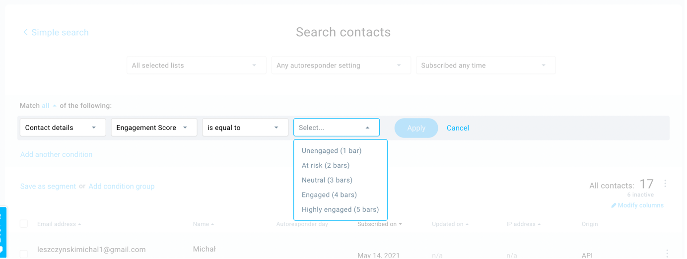 How to segment your email list using engagement score in GetResponse.