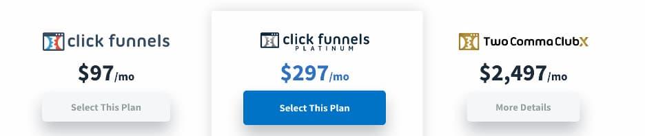 ClickFunnels pricing.