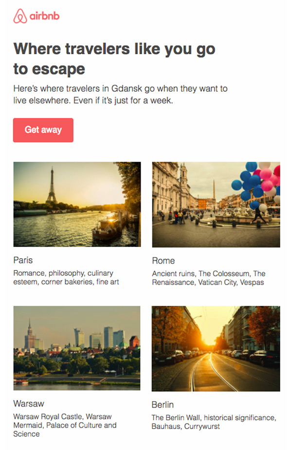 Personalized email campaign using geographic location data from Airbnb.
