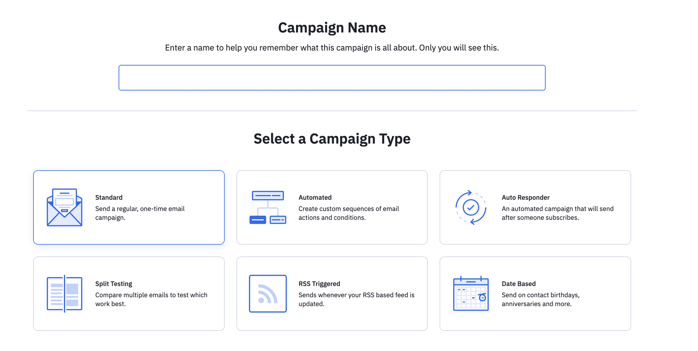 различные типы кампаний Active Campaign