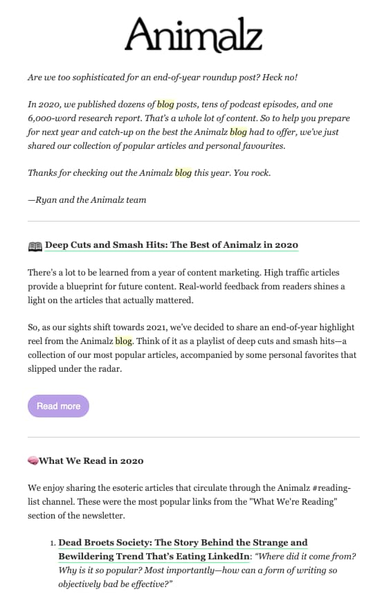 Example of an email containing latest content from the brand's blog.