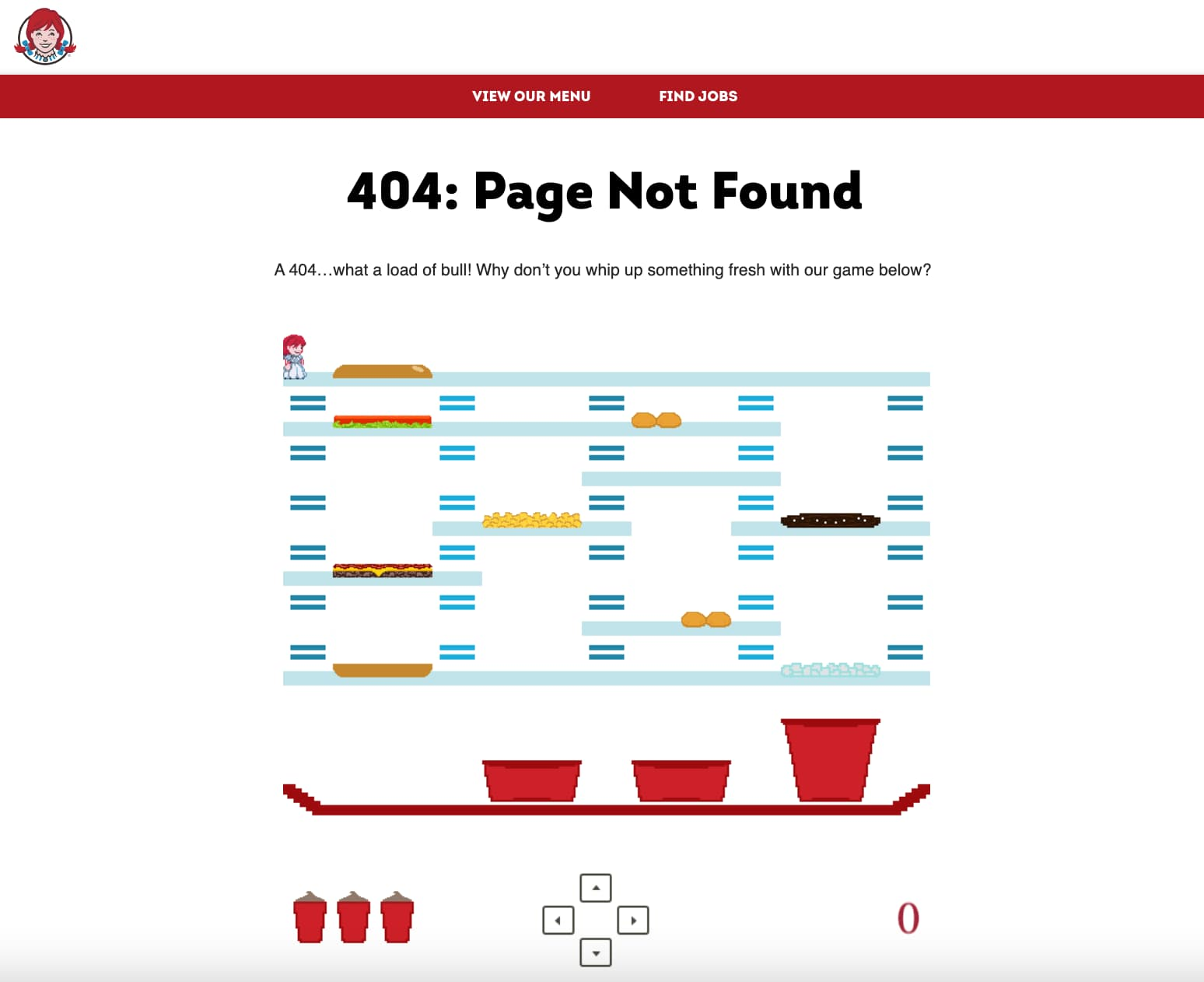Wendy's 404 page displaying the page not found error message in a fun and interactive way.