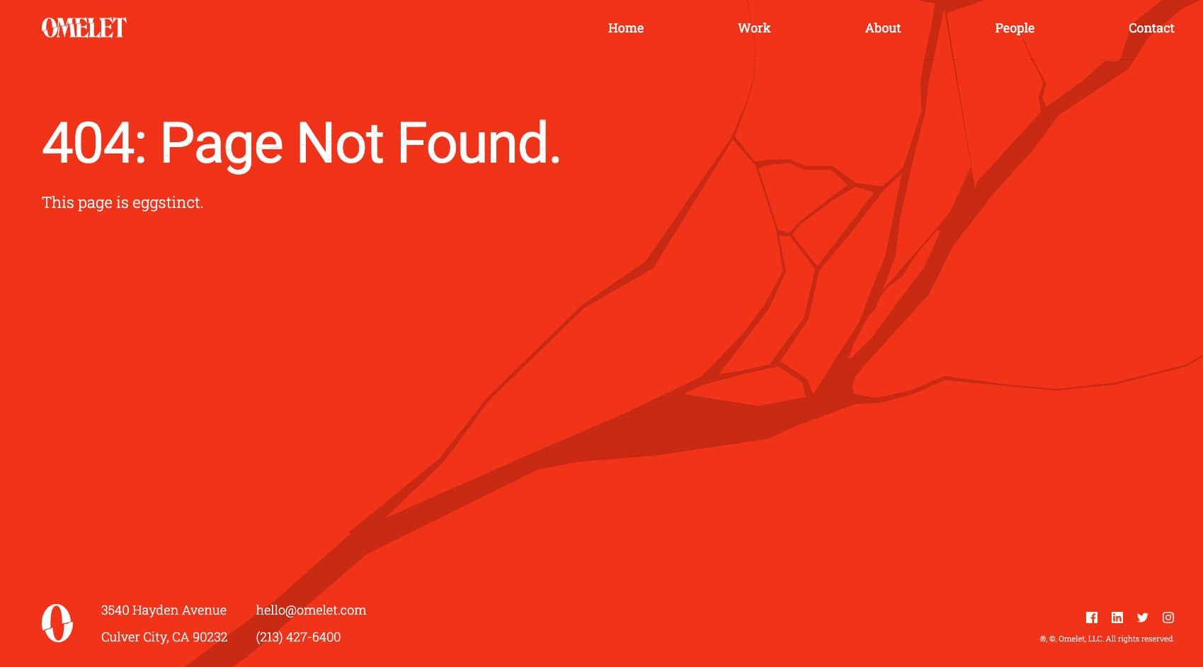 404 error page from Omelet agency.