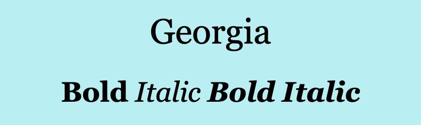 Georgia font.