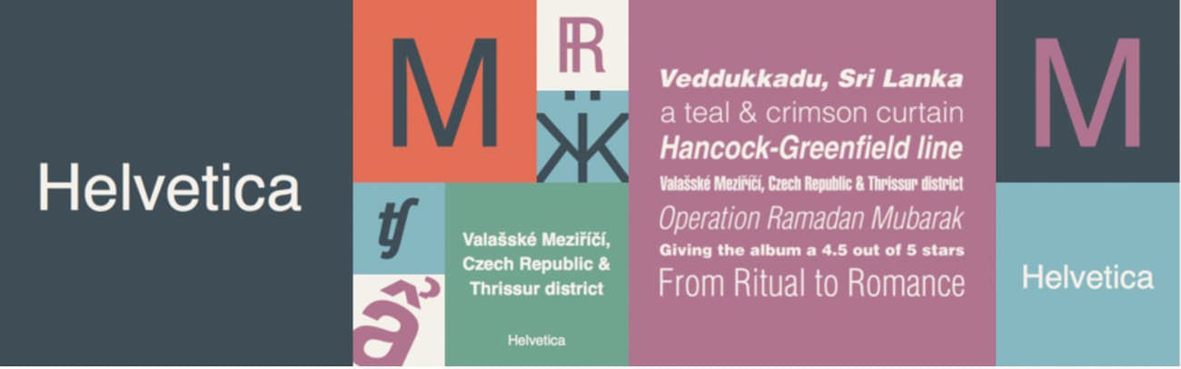 Helvetica font.