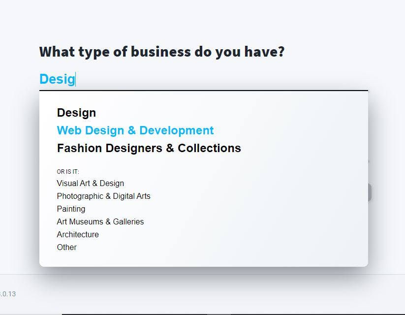 Choosing the type of business in an AI website creator.