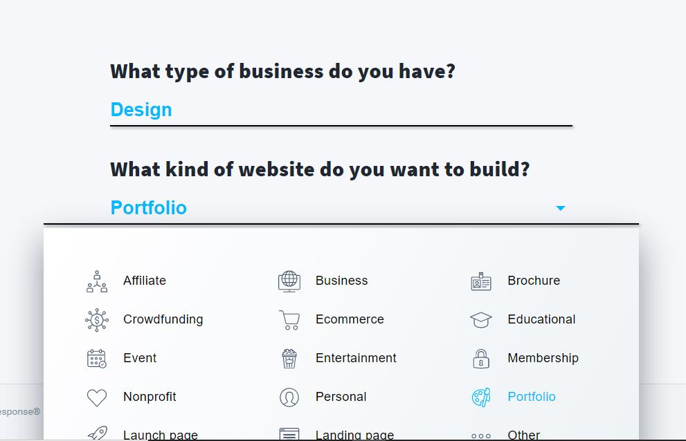Selecting a website type in an AI website builder.