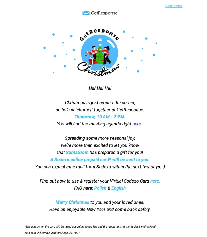 GetResponse team party invitation email.
