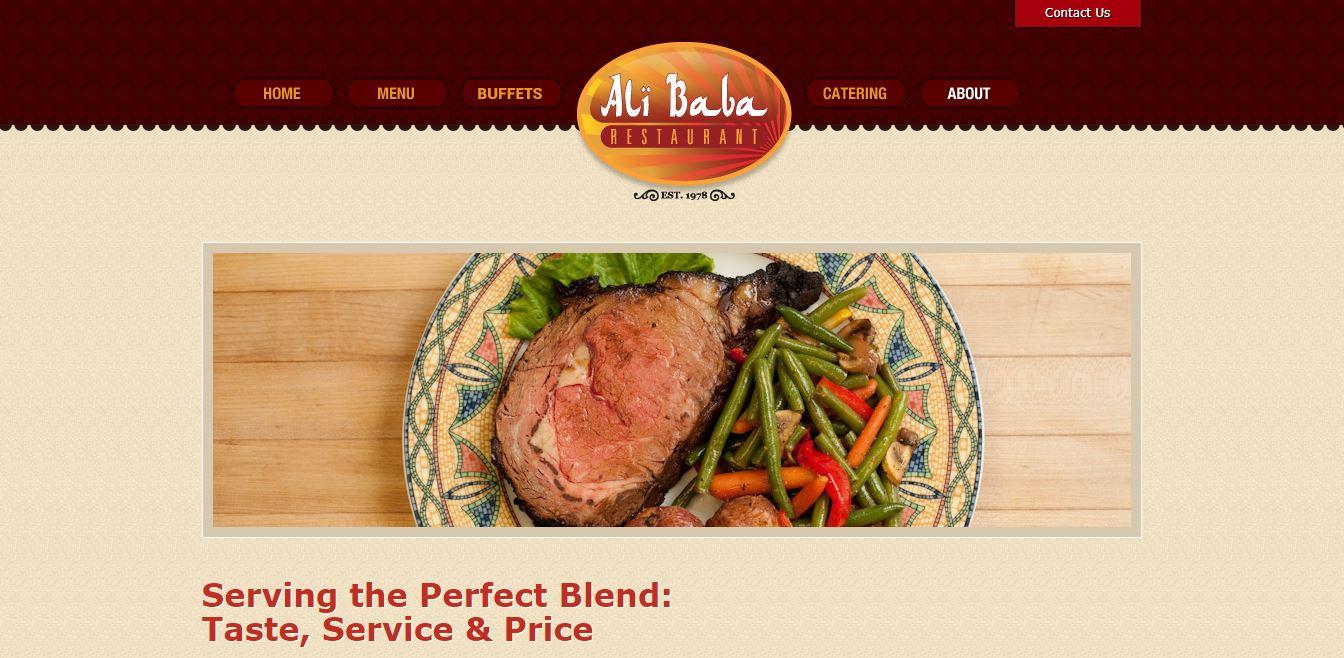 Главная страница ресторана Ali Baba