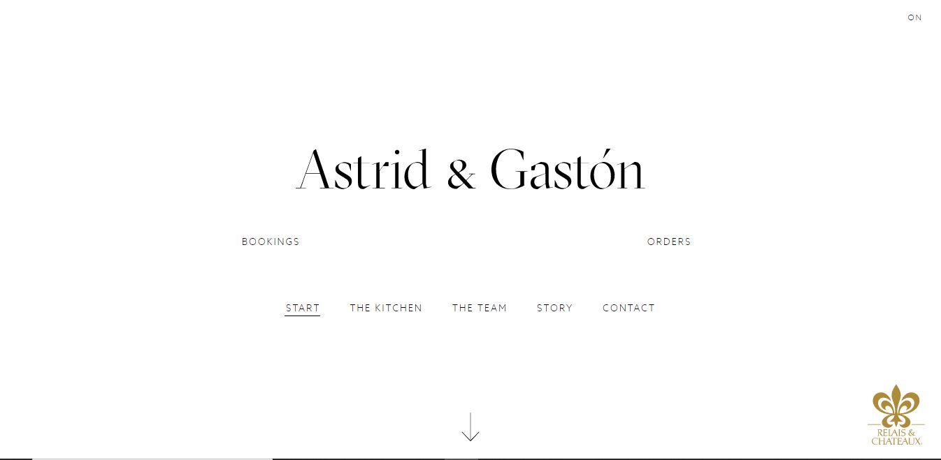 Главная страница ресторана Astrid and Gaston