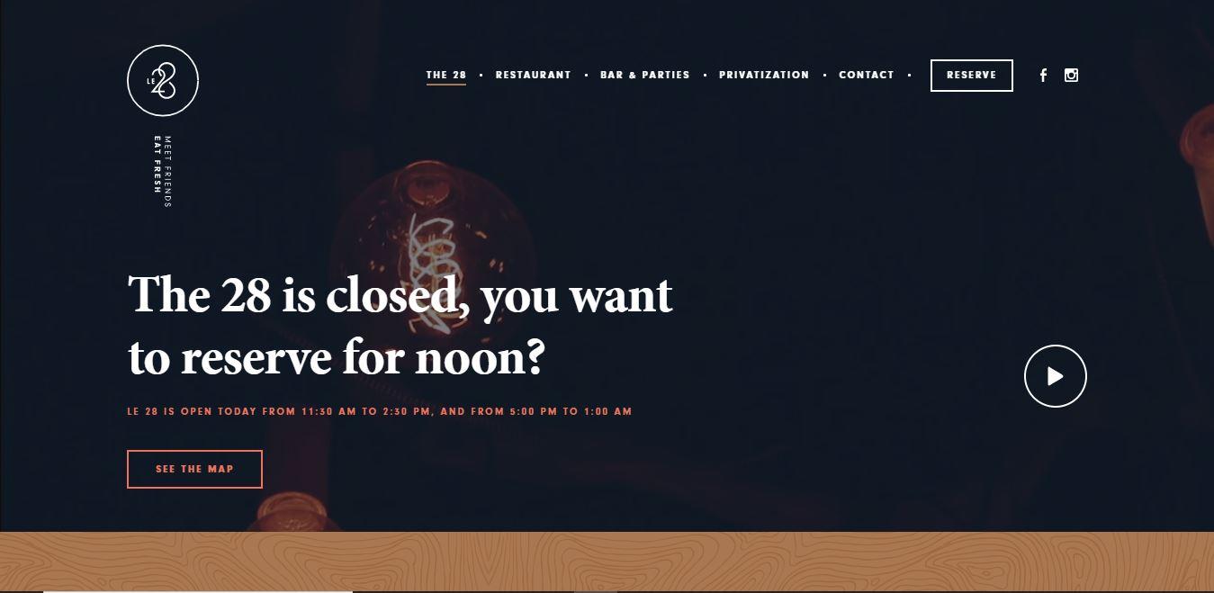 Главная страница ресторана Le 28