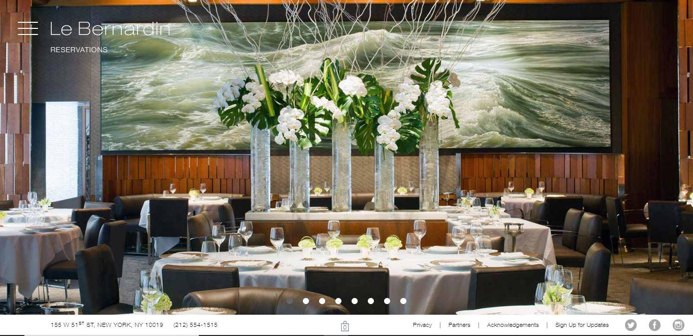 Главная страница ресторана Le Bernardin