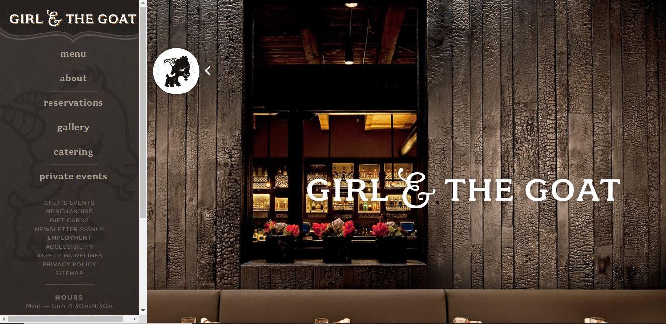 Главная страница ресторана Girl and the Goat