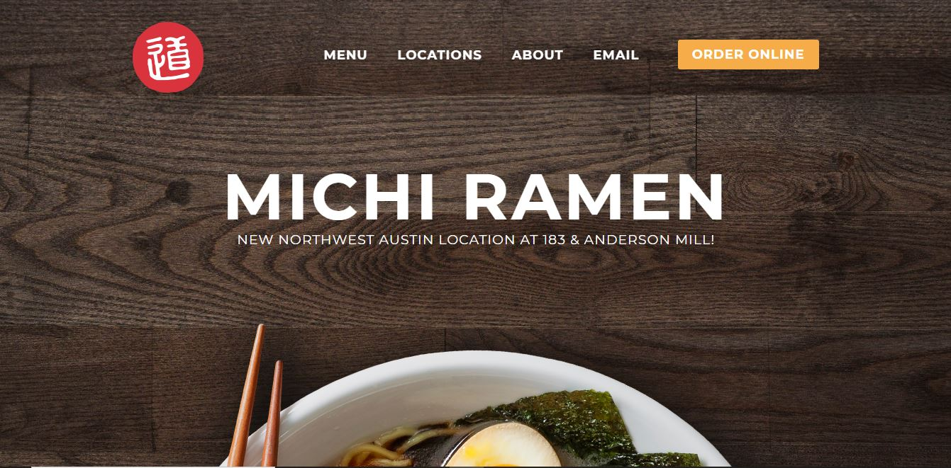 Главная страница ресторана Michi Ramen