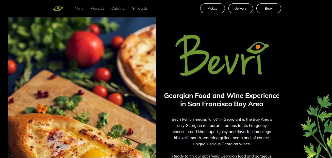Главная страница ресторана Bevri
