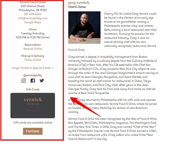 Страница сайта ресторана Vernick