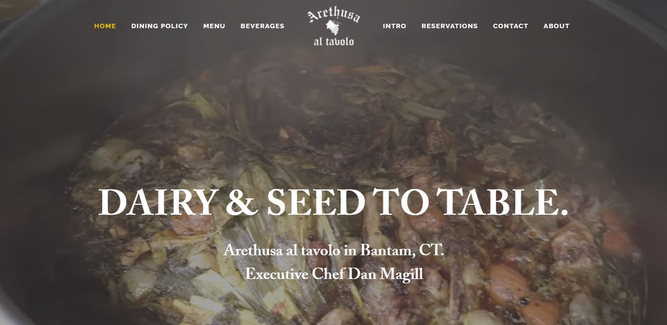 Главная страница ресторана Arethusa