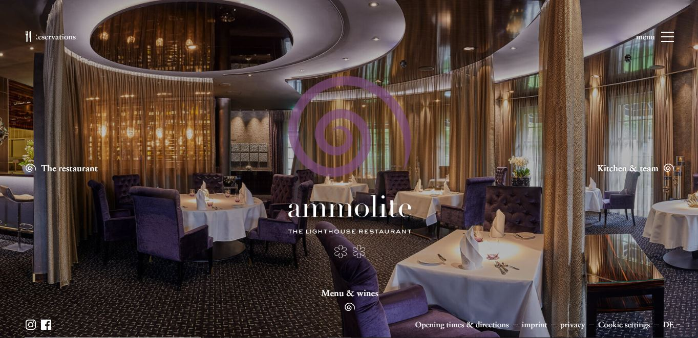 Главная страница ресторана Ammolite