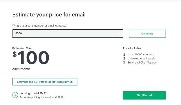 Klaviyo pricing with higher list.