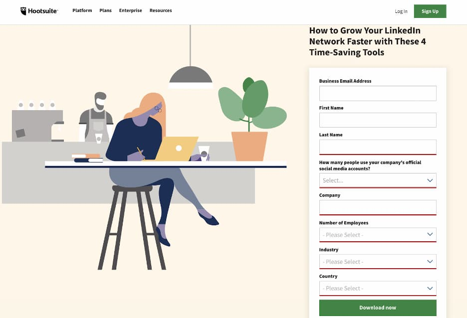 Landing page offering a downloadable asset featuring a form with eight input fields.