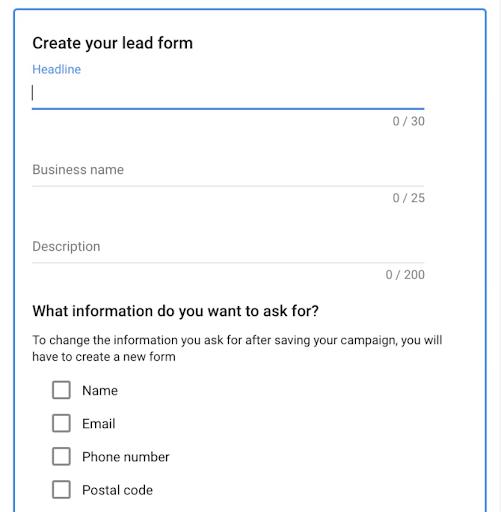 Creating a Google Lead Form.