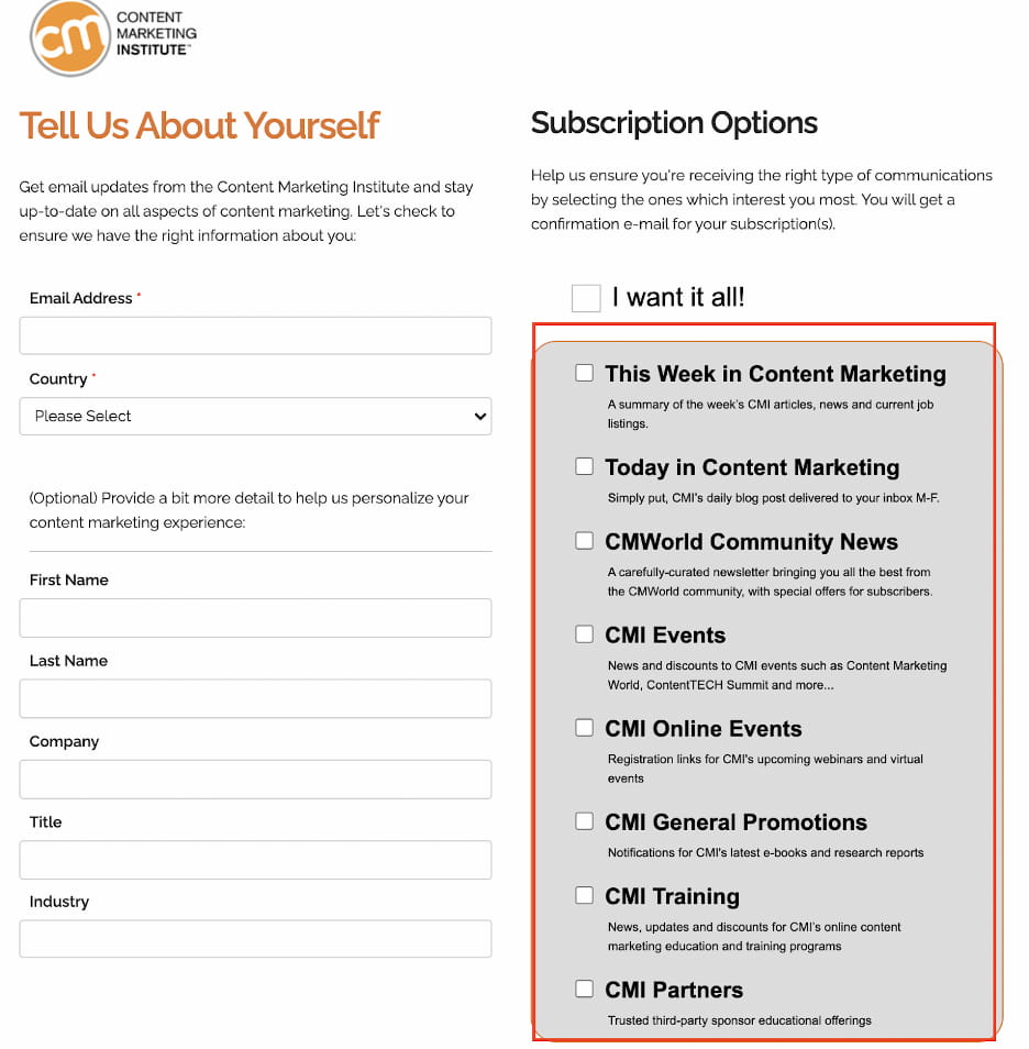 CMI email preference center letting subscribers choose which newsletters they'll get notified about.
