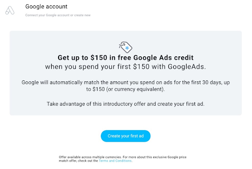 Google offering a free matched $150 ad spend.