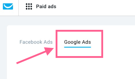 Google Ads in GetResponse Paid Ads.