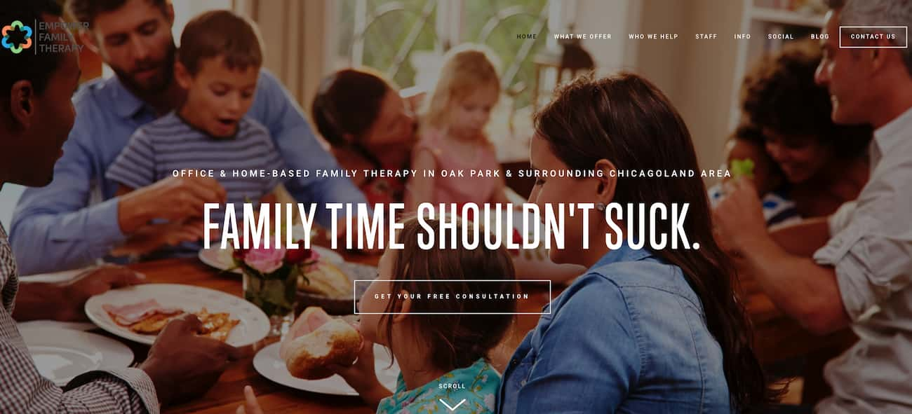 Empower Family Therapy website example.