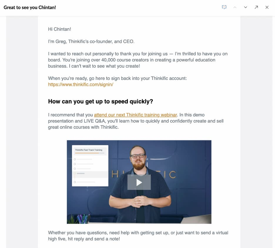 Thinkific welcome email inviting users to their webinar.