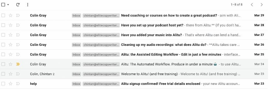 Inbox view showing the email frequency from Alitu.