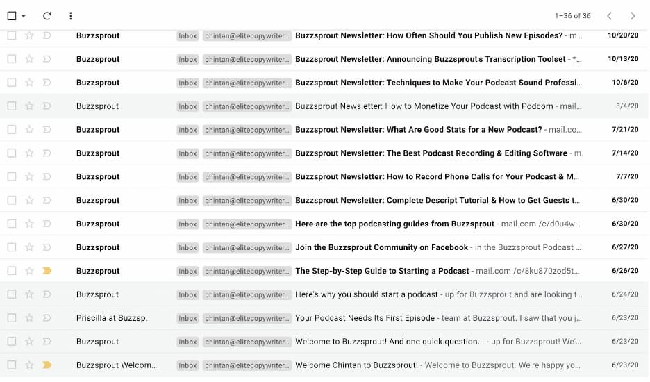 Inbox view showing the number of emails sent by Buzzsprout.