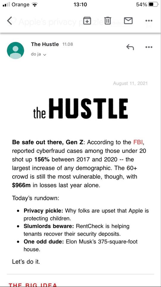 Well-designed email from the Hustle viewed in light mode.