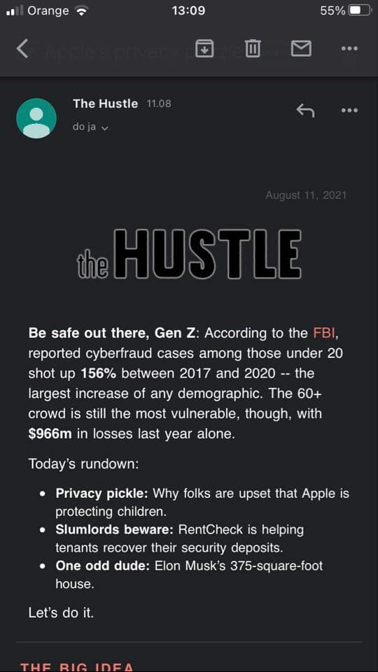 Well-designed email from the Hustle viewed in dark mode.