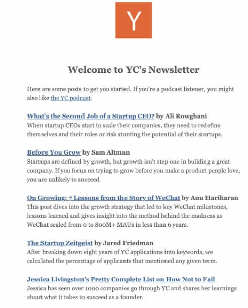 B2B email newsletter from Ycombinator.