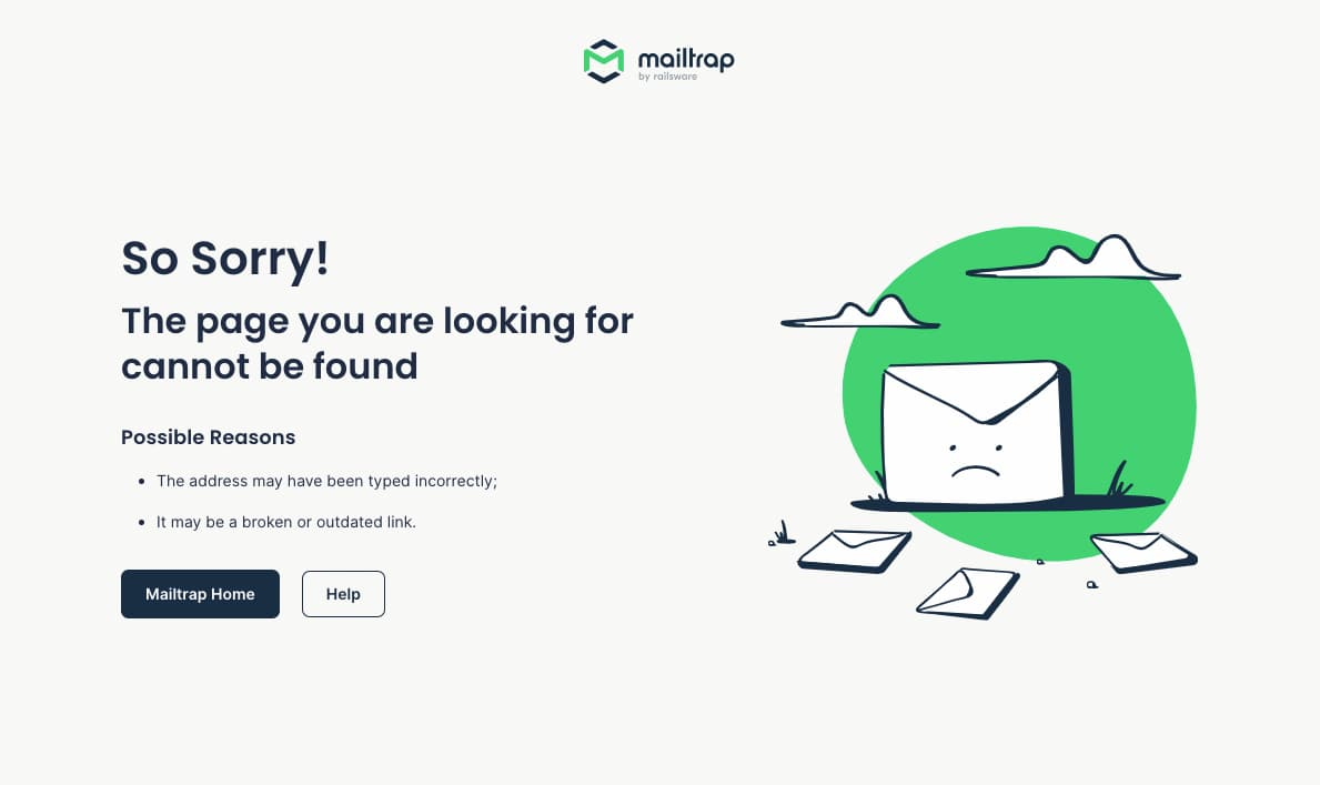 404 page example from Mailtrap.