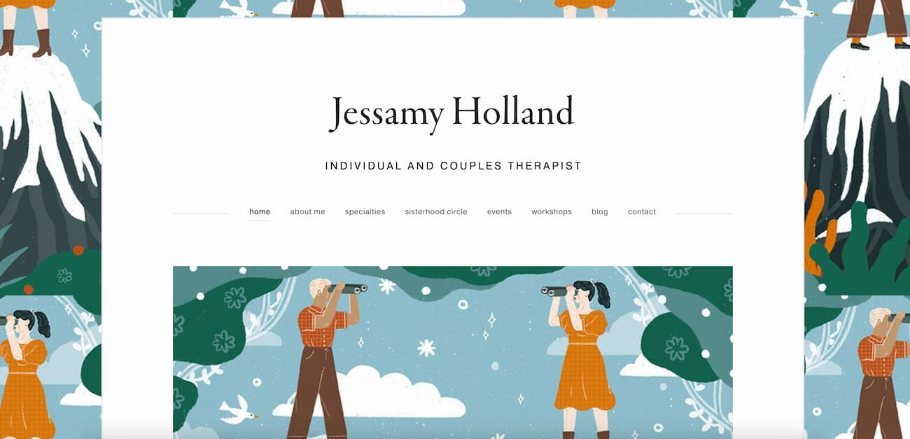 Jessamy Holland therapy homepage.