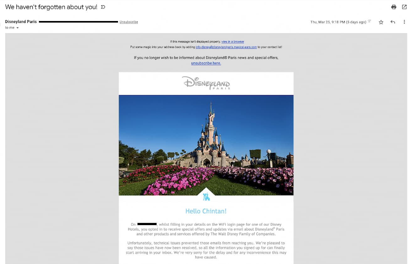 Reactivation email from Disneyland Paris.