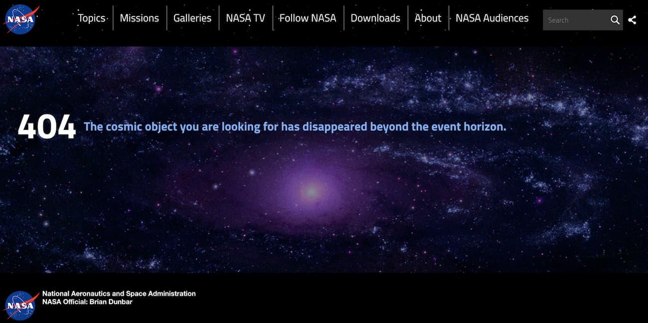 404 page from NASA.