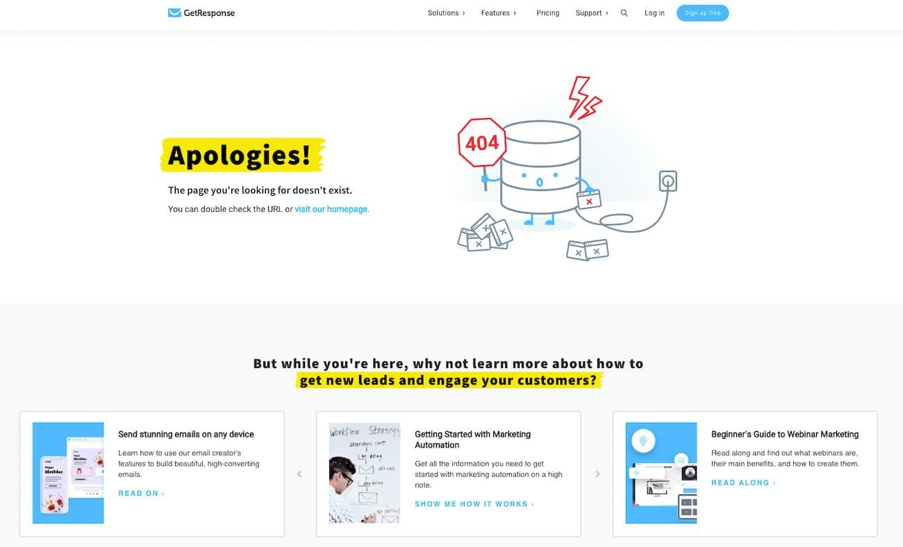 GetResponse 404 error page.