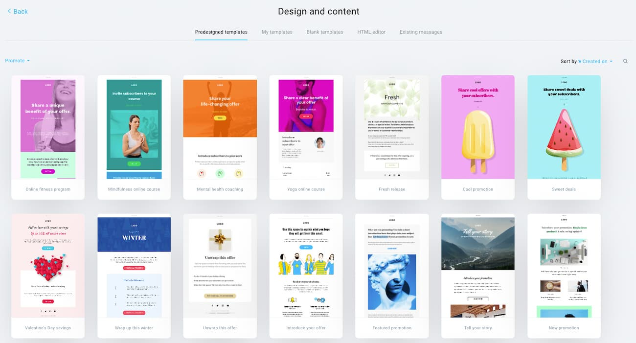 Examples of GetResponse Email Templates in the Promote category.