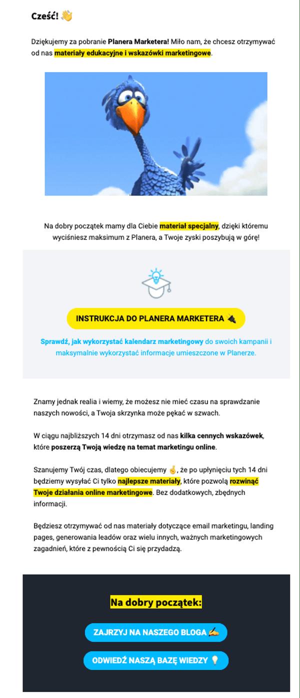 Email powitalny od GetResponse