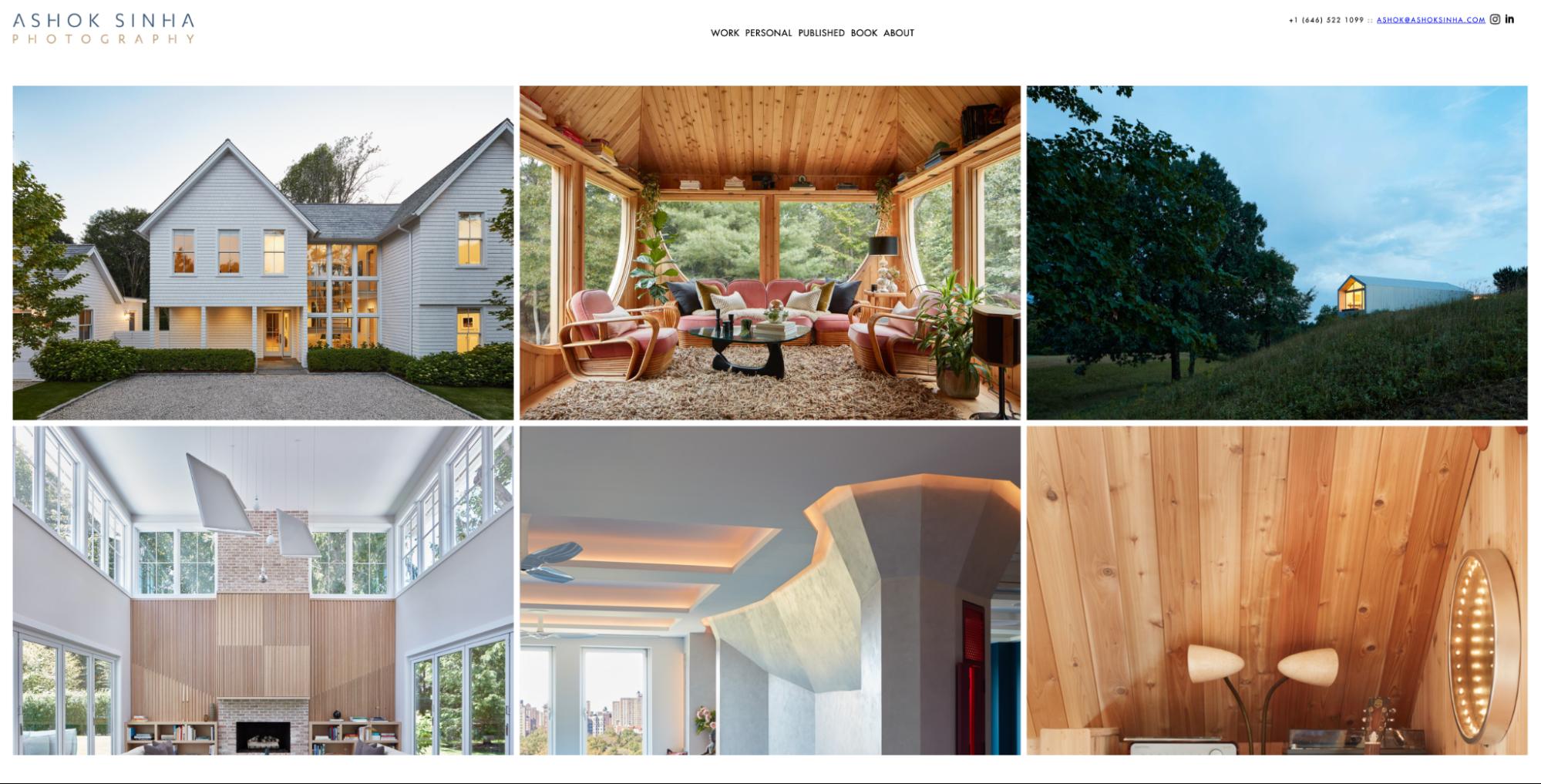 Grid photo layout on a portfolio website.