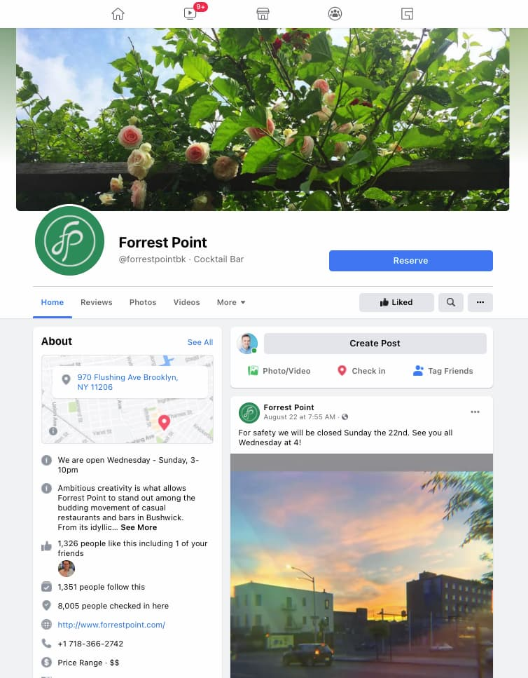 Which one tells your story better – is it your Facebook page? Example Forrest Point, Bushwick.