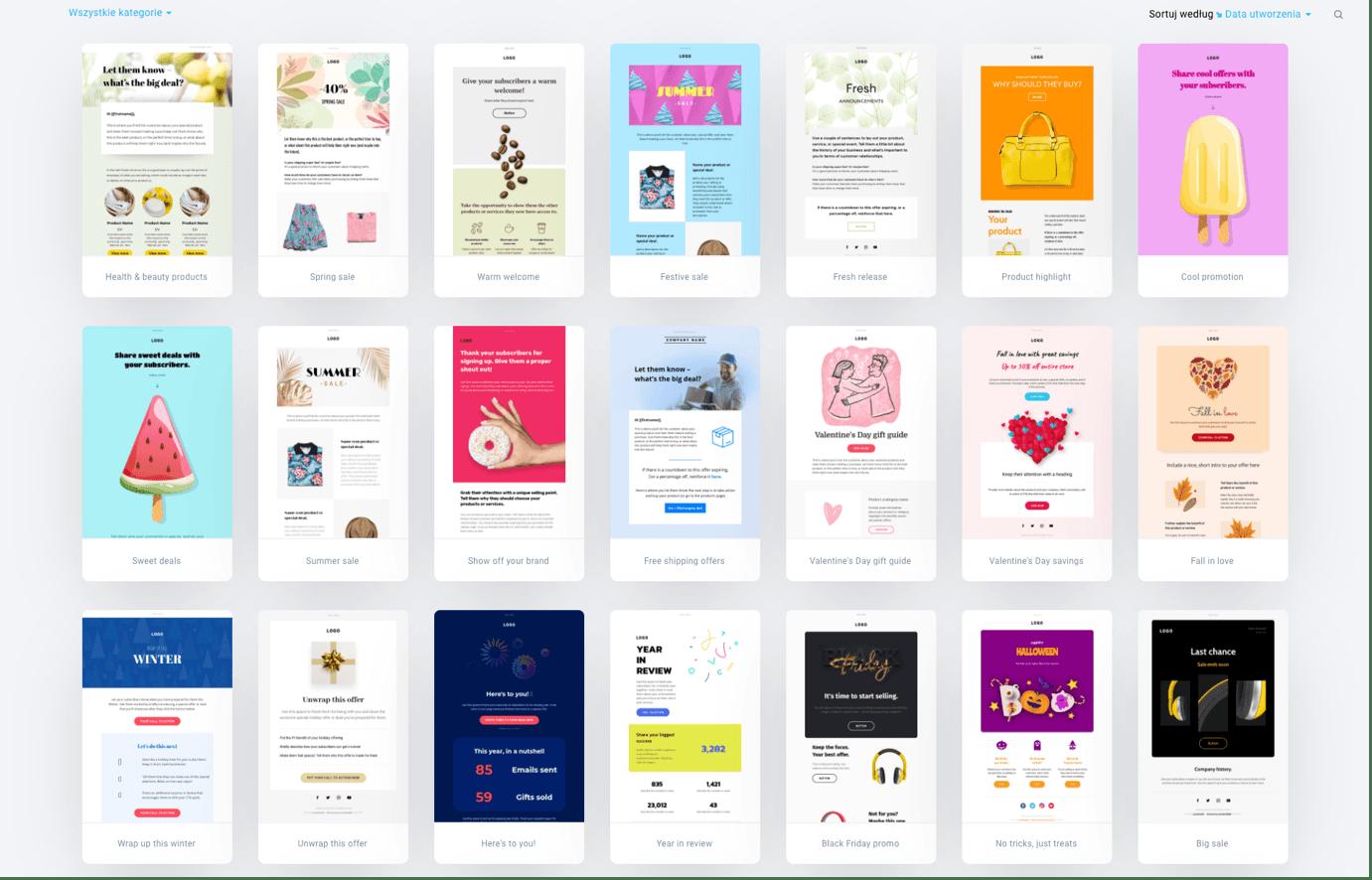 Biblioteka szablonów emaili marketingowych GetResponse
