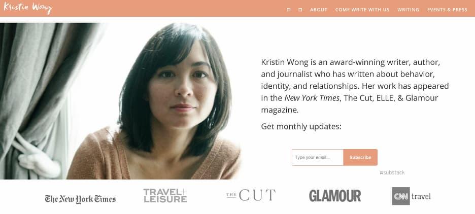 Writer online portfolio example - Kristin Wong.