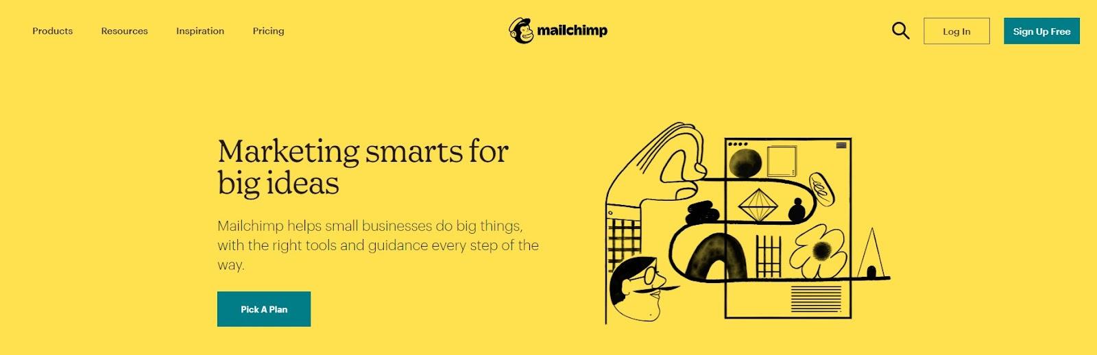 Screenshot of Mailchimp's website.