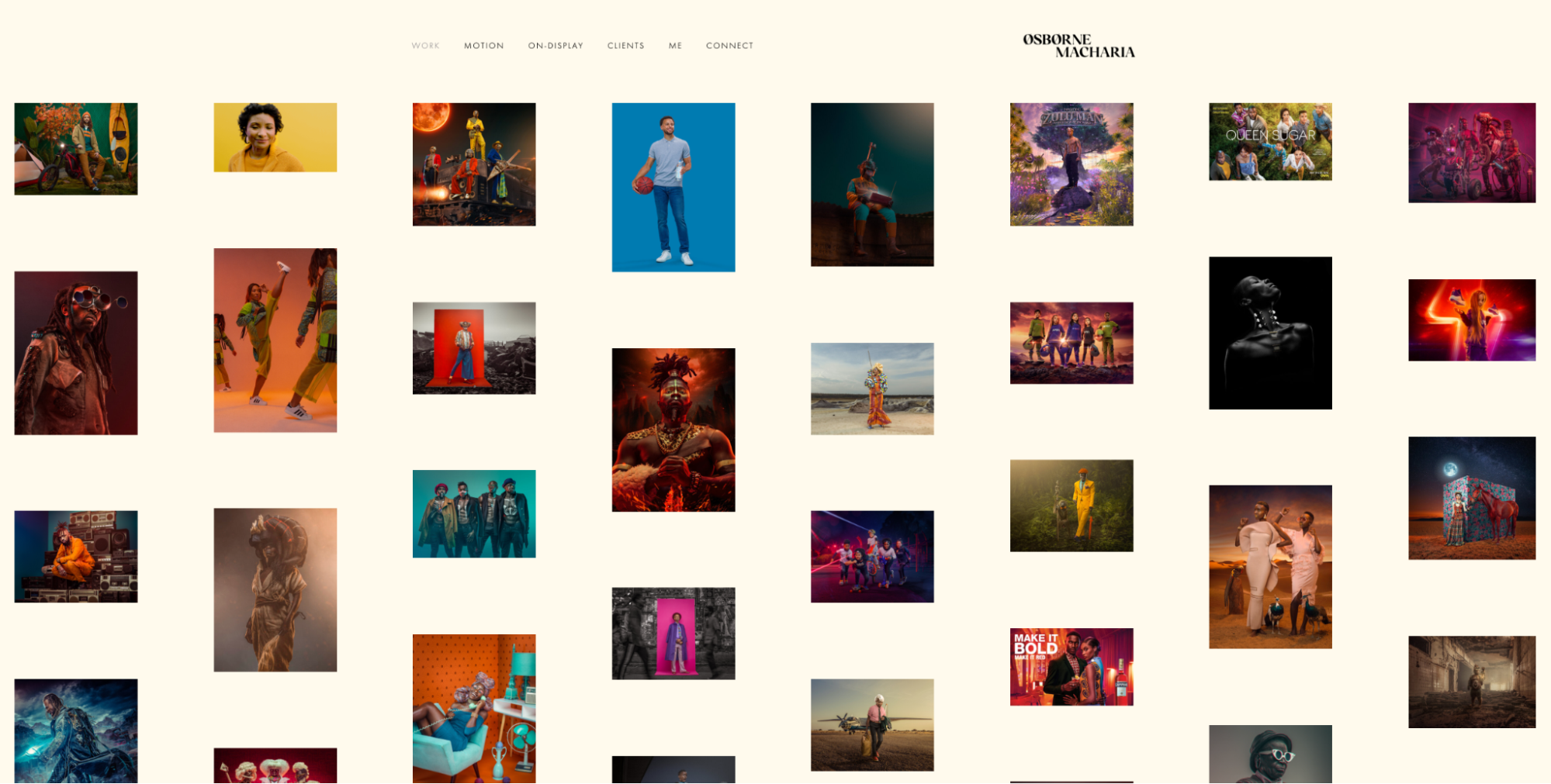 Photography website layout.