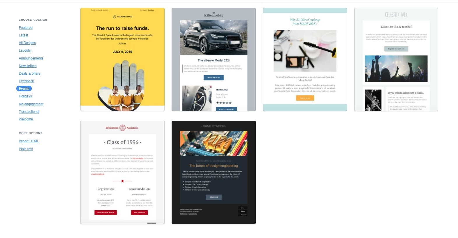 Campaign Monitor landing page templates.